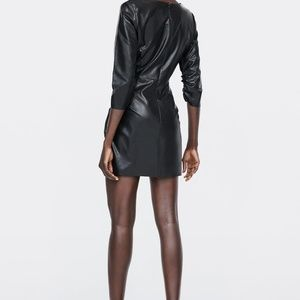 ZARA Dresses - ZARA BLACK FAUX LEATHER DRAPED MINI DRESS